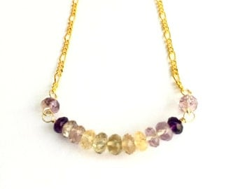 Ametrine and Gold Chain Necklace