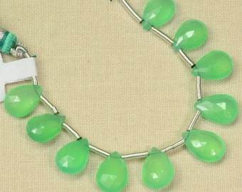 Gem Australian Chrysoprase Faceted Pear Briolette Beads 4 inch Strand