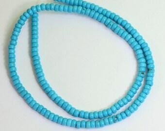 IGI certified 4.1MM Sleeping Beauty Turquoise Wheel Rondelles 16 inch strand