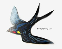 Tooled Leather Brooch, Painted Black Bird Pin