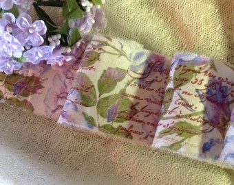 French Romance & Lavender Roses - Hand stamped trim - Romantic French Script on Roses