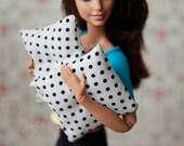 1:6 Scale Pillows Modern Black Dot Print Miniature Blythe Momoko Pullip Barbie Fashion Royalty Doll House