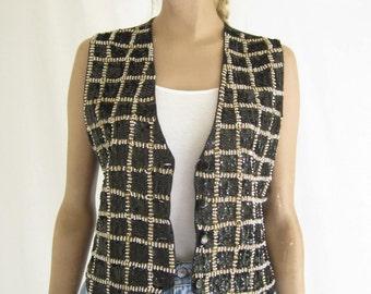 Vintage 80's Sequin Boho Vest. Size Small