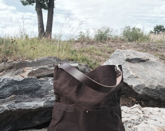 Brown Waxed Canvas Bucket Bag, Tote Bag, Casual Everyday Tote Bag