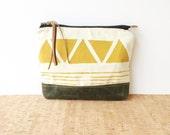 clutch  • geometric clutch - waxed canvas • mustard yellow triangle print - herringbone - forest green waxed canvas - screenprint
