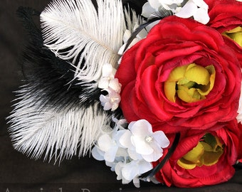 Red and white Peony bridal bouquet (wedding bouquet) Red,black,white forever bloom bouquet with rhinestone,ostrich feather,biot ascents