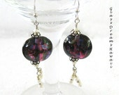 Burgundy Glass Dangle Ear...