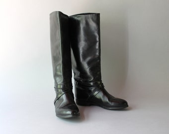 Vintage Riding Boots / 1980s Black Leather Boots / 80s Knee High Riding Boots