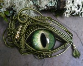 Gothic Steampunk Green Eye Pendant with Matching Tear Part 1