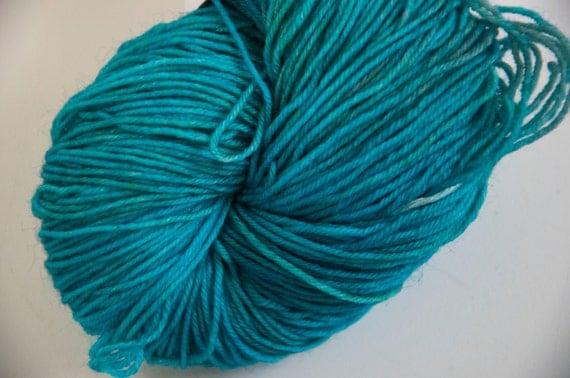 Hand-Dyed Yarn in Tropical Waters Colourway Sock Yarn Superwash Wool/Nylon Tootsie Base