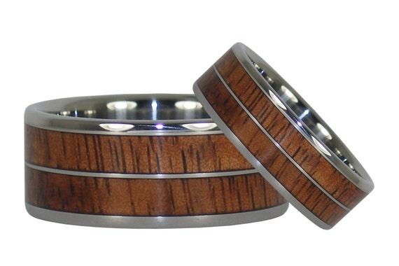 Hawaiian Koa Titanium Ring Bands