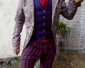 Purple and Gold Tapestry Cloth  Steampunk Frock Cutaway Swallowtail Wedding Jacket