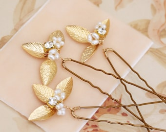 Delicate Gold Leaf Hair Pins Set of Three
