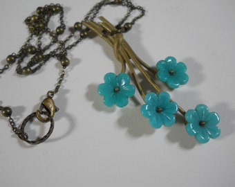 Blue Glass Flower Necklace Metal Branch Vintage 1930's Trifari Jewelry Parts Up Cycled Necklace on Brass Beaded Chain
