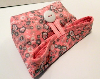 Small Foldover Bag/ Pink and Gray Small Floral
