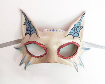 READY TO SHIP Little Kitty Sugar Skull Leather Mask Cat Day of the Dead  Dia de los Muertos spider web costume