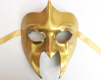 Gold Leather Mask Gladiator Spartan Roman