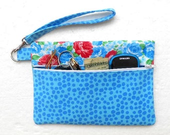 Blue Red Wristlet, Floral Clutch, Front Zippered Purse, Phone or Gadget Case, Makeup or Camera Bag, Dots and Flowers Womans Wallet