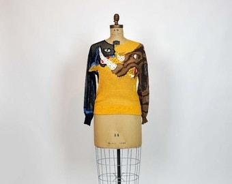 80s sweater / Panther vs Rhino Vintage 1980's Rhinestone Crochet Knit Sweater