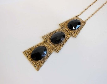 1970s necklace / Vintage 70s Huge Runway Pendant Necklace