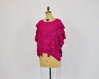 80s blouse /  Vintage 1980's Laise Adzer Blouse