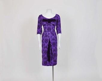 50s dress /  Vintage 1950s Michael Novarese Purple Floral Wiggle Dress