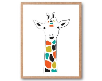 Giraffe Art Print, Safari Nursery decor, Baby Nursery decor, Wall art, Safari Baby Shower, Animal Art Print, Kids room decor, Children Room