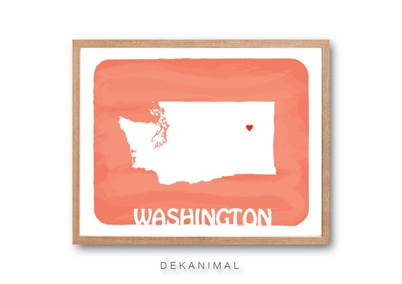 WASHINGTON MAP - Pastel Orange - Personalized Custom Color Watercolor Style State Map Wedding Birthday Anniversary GIft Children Wall Art
