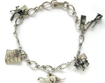 Vintage Sterling Silver Charm Bracelet - ARIZONA Charms - Cactus - State Charm - Dinosaur - Burro - Roadrunner