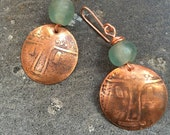 Copper Mask Earrings with Green Bead