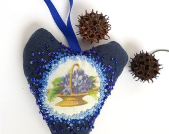 Bibelot VIII blue heart ornament, fiber art, hand embroidery, french knot, hand stitched, home decor, collectible heart