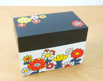 Vintage Recipe File Box Flowers • Ohio Art Metal Box • 1960s Vintage • Flower Power Red Yellow Blue Black