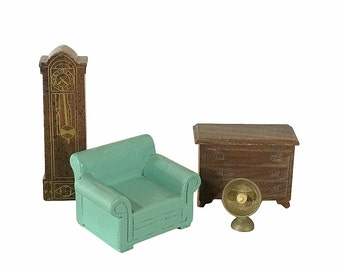 1930s Dollhouse Armchair, Clock, Heater and Dresser by Strombecker Toys, Vintage Miniatures
