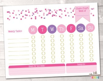 Girls Printable Chore Chart Weeky To Do List for Kids with Pink and Purple Polka Dot Confetti Instant Download