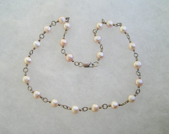 Lovely Sterling Silver & Genuine Pearl Link Necklace