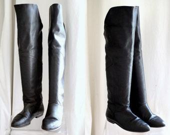 Vintage 80s Black Leather OTK Over the Knee Flat Boots 9