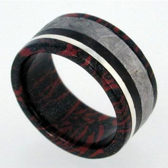 Black And Red Mokume Gane Wedding Band, Black Wood and Meteorite with 14k White Gold Wedding Band