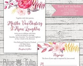 Pink and Gold Watercolor Floral Invitation