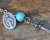 Extra Charm or Zipper Pull - Specify Color - Crucifix and Miraculous Medal on Lobster Clasp