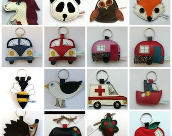 2 for 8 gb pounds assorted discount cute holiday animal handmade recycled leather keychain bagtag adornment gift, FREE UK SHIPPING ....