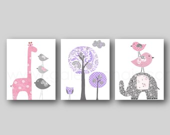 Pink Purple Gray, Nursery Decor, Nursery wall art, Baby room decor, Elephant nursery, Giraffe Nursery, Tree, Set of three prints