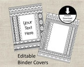 Binder Covers Insert Doodle Color Page Adult Color Page School Student Teacher Editable Binder Cover Printable Set of 2 Tribal No Frills