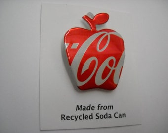 Apple Coke Magnet Pin Recycled Can Teacher Gift