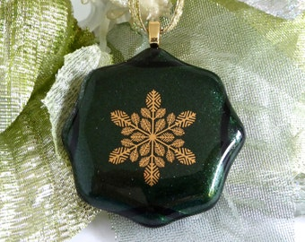 Fused Glass Gold and Green Snowflake Christmas Ornament