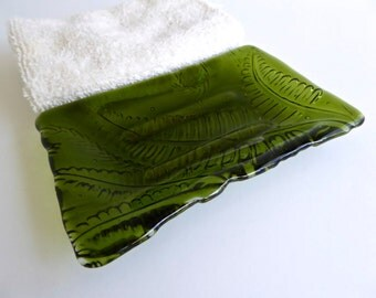 Fused Glass Fern Imprint Soap Dish in Fern Green