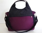 Sale - Water-Resistant Bag in deep plum and black, diaper bag, messenger, tote, women, stylish - DONNA