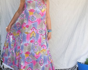 Cotton Batiste  - Large Patterned Maxi Dress - Sleeveless Slip On Summer Dress in Fuchsia - Grey - Curry - Purple - made by Resplendent rags