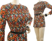 Vintage 60s 70s Romper Jumpsuit Hotpants Shorty Shorts Mini Ditsy Floral Outfit S