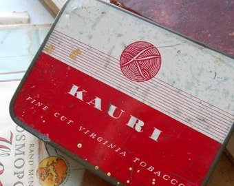 shabby kauri tobacco red and white tobacco tin antique vintage 1940s tin