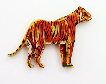 Tiger Brooch - Pin / Unique Gift Under 50 / Upcycled 1960s Hand Cut Wood Puzzle Piece / Brown Wood Jungle Animal Pin
